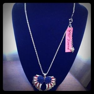 Betsey Johnson Americana Angel Wing Necklace